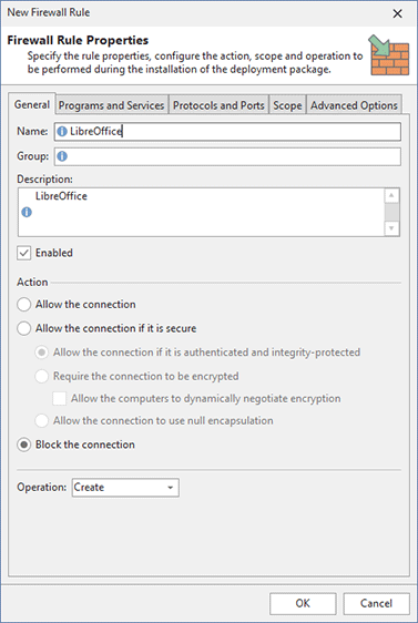Configuring firewall rule options
