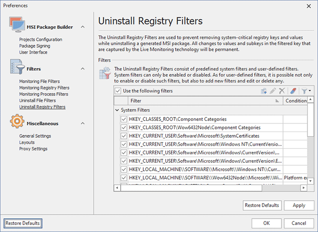 Configuring Uninstall Registry Filters