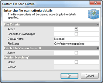 Adding the custom file scan criteria