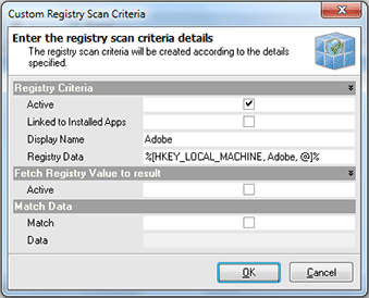 Adding the custom registry scan criteria