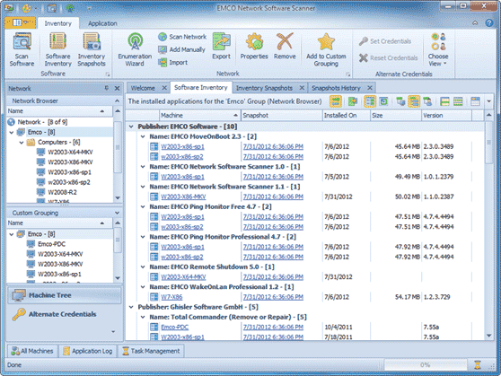 Software Inventory view