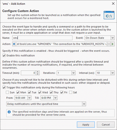 Configuring a Custom Action