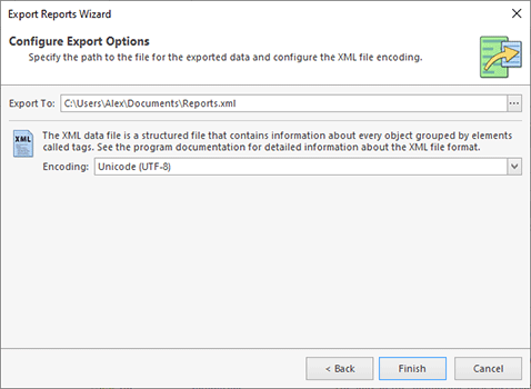 Configuring export options