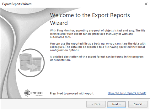 The Export Reports Wizard welcome page