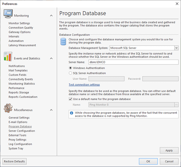 Configuring the Microsoft SQL Server database