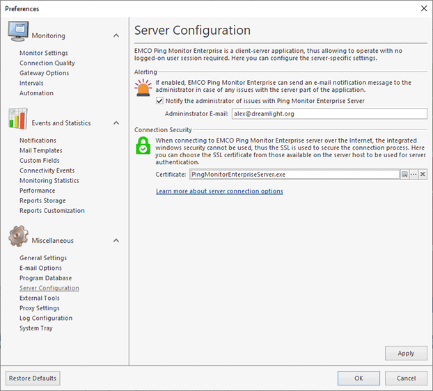 Specifying Server Configuration