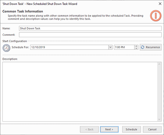 Configuring execution data for a scheduled task
