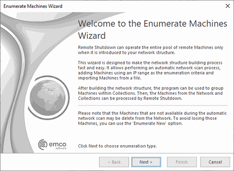 The Enumeration Wizard welcome page