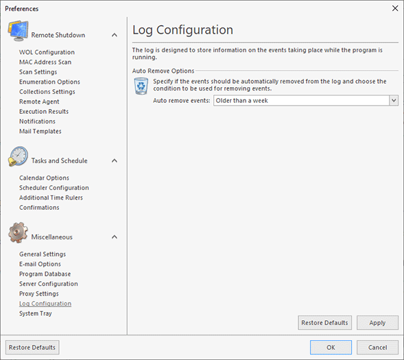 The log configuration