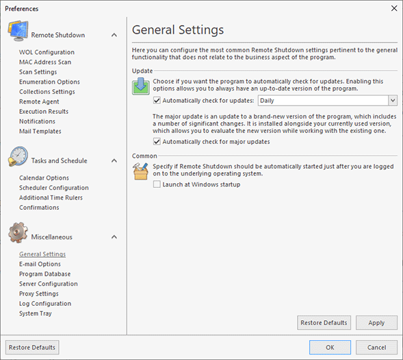 Configuring general settings
